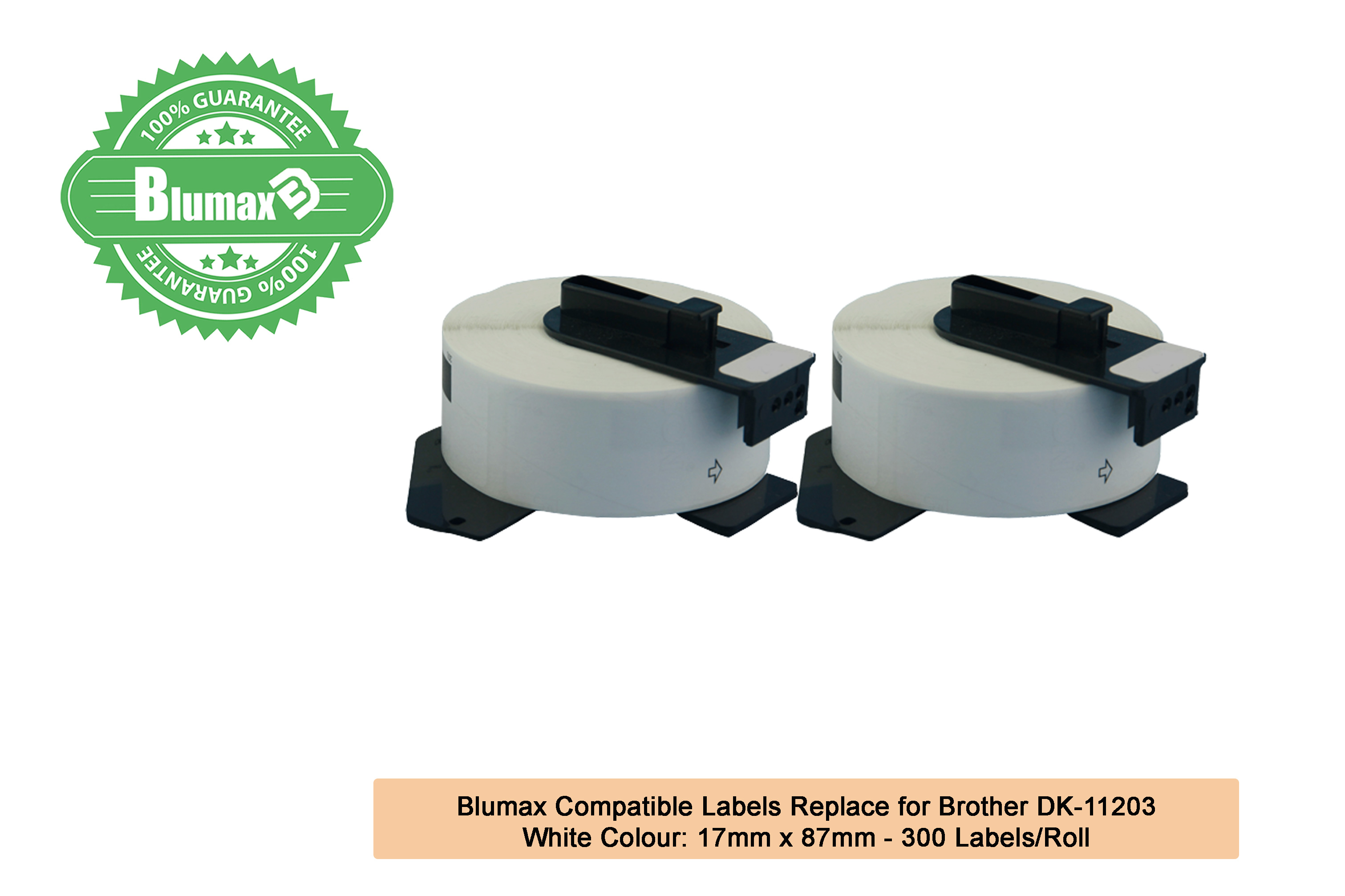 2x Compatible Brother DK-11203 Label – 17mm x 87mm, 300 Labels/Roll