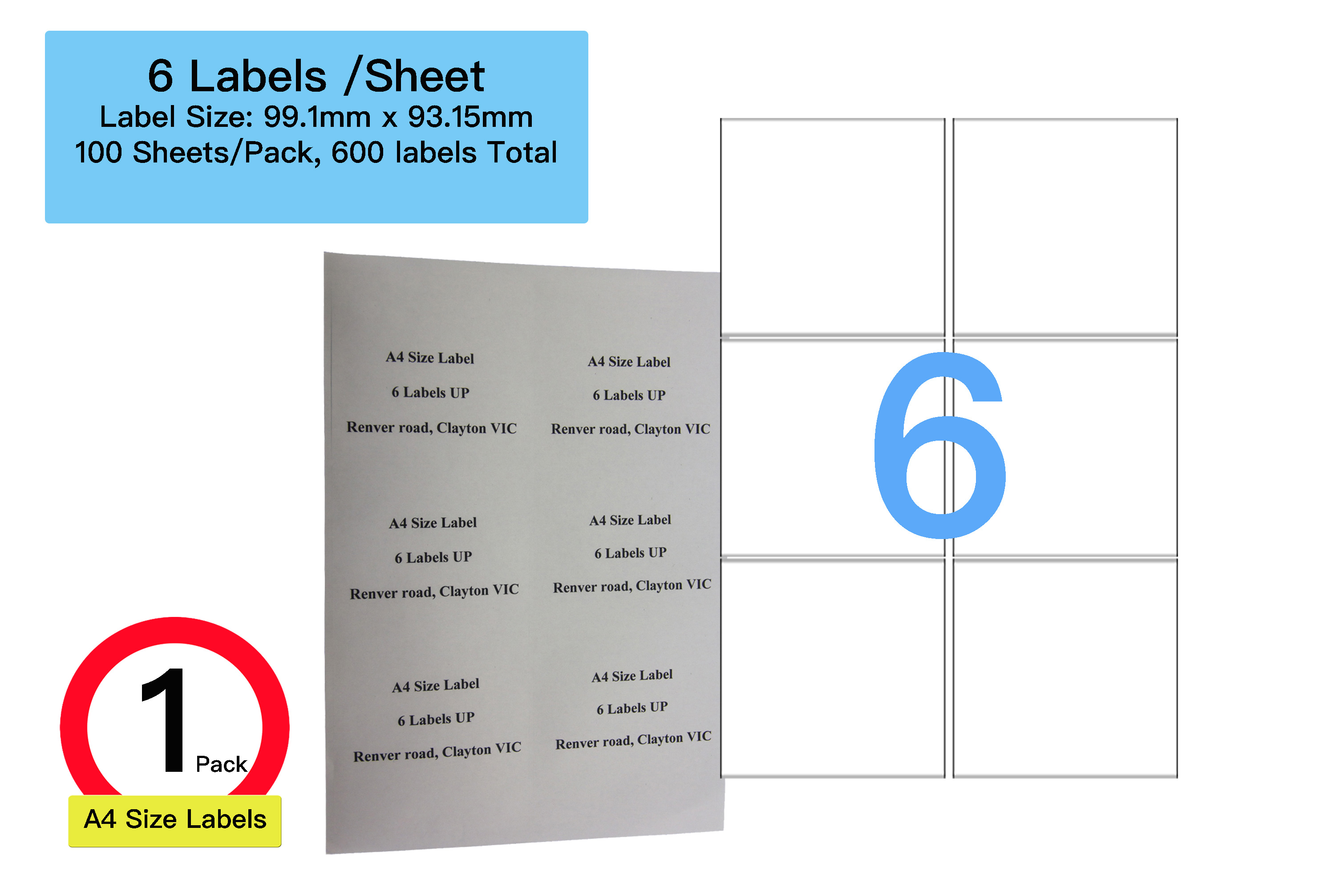100 sheets 6 labels per page 600 labels 99 1x93 15mm a4 office