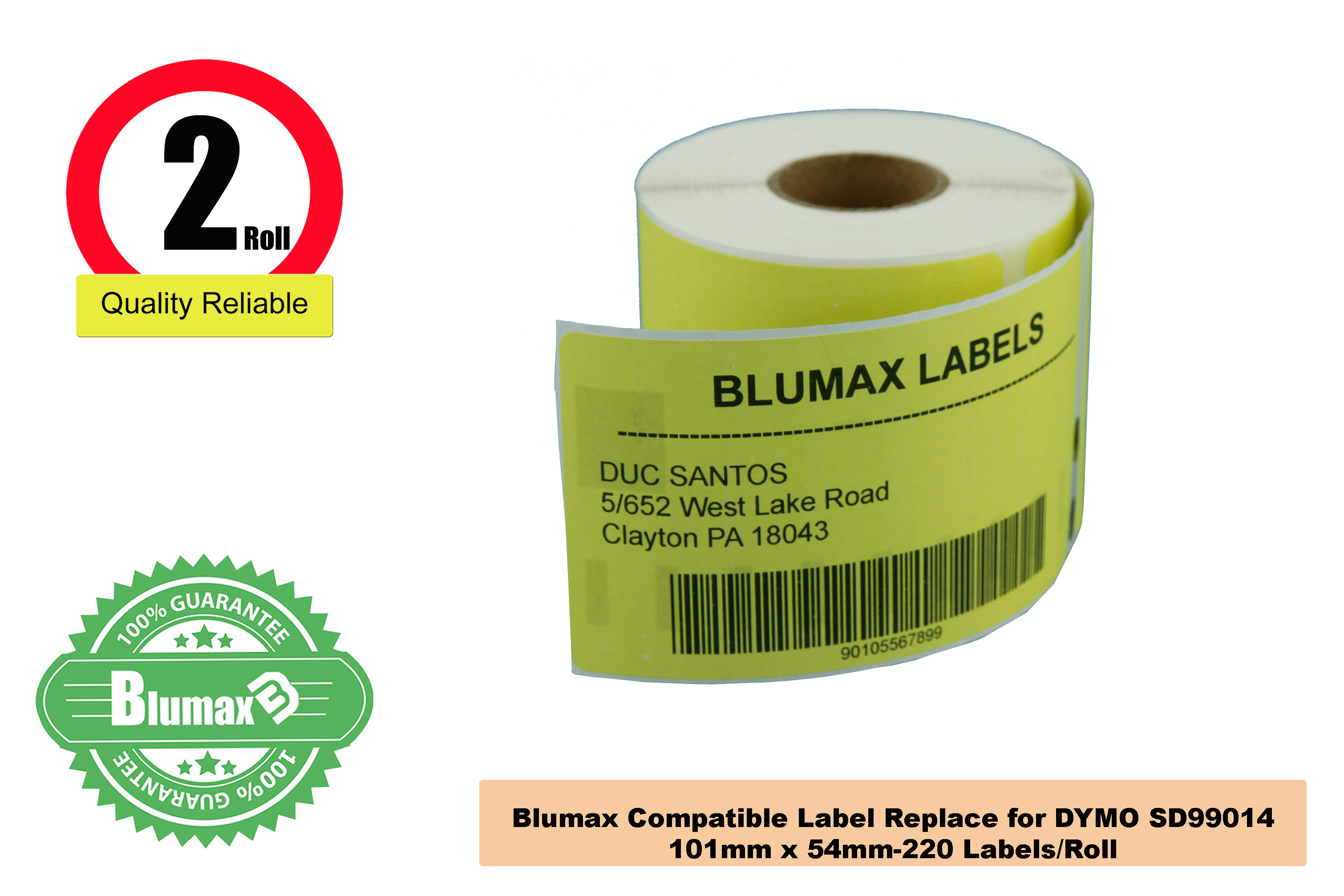 2x Compatible DYMO 99014 Yellow Labels Rolls/54mm x 101mm,220 labels
